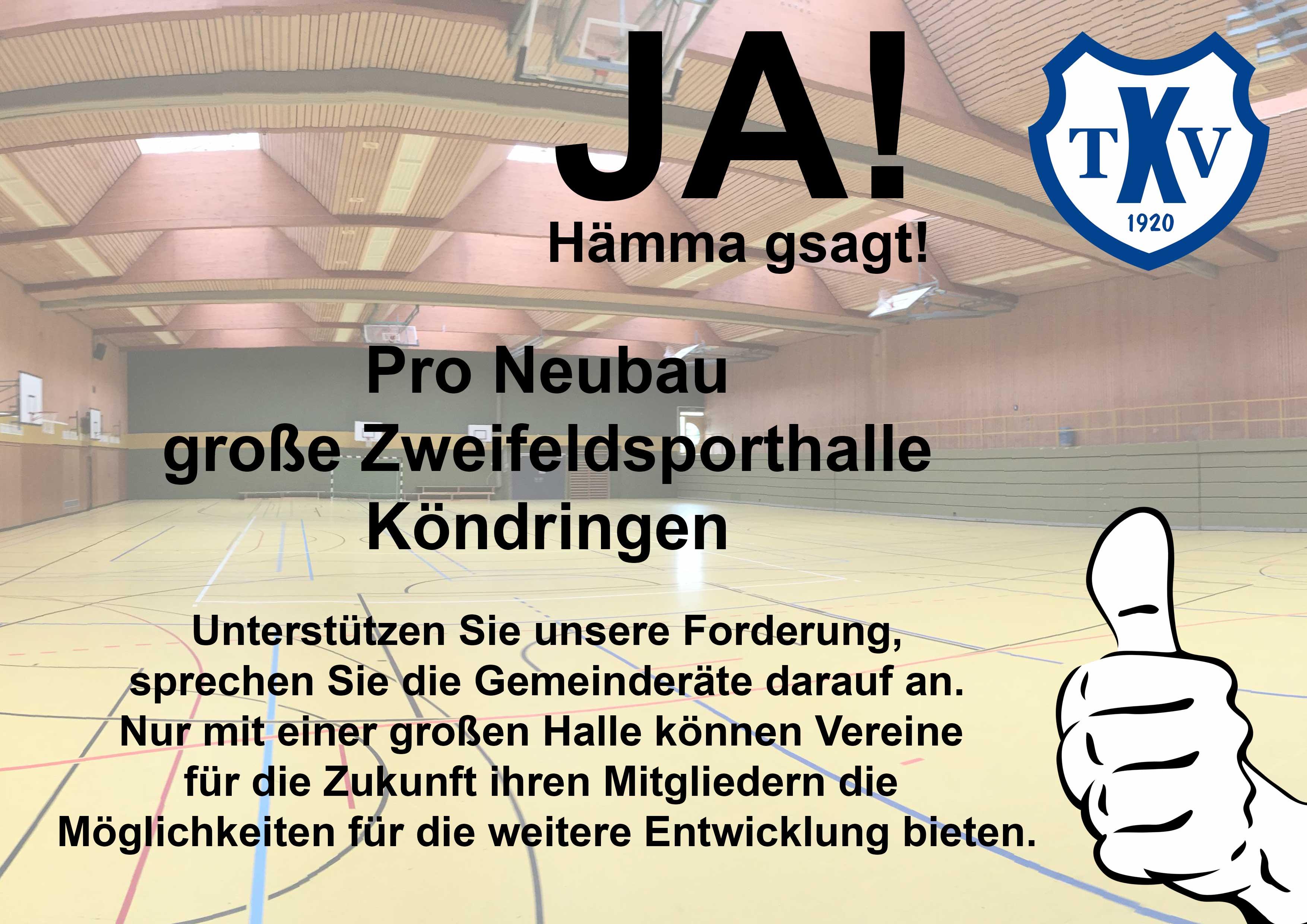 Pro Neubau Zweifeldersporthalle Köndringen